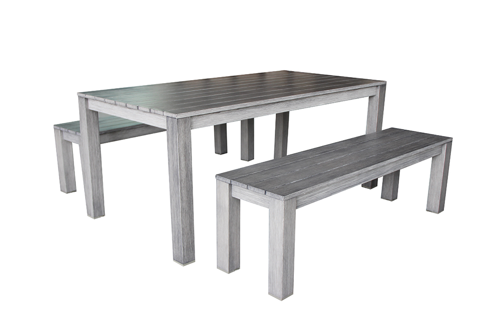 Teakline 3 piece Aluminium Bench Setting